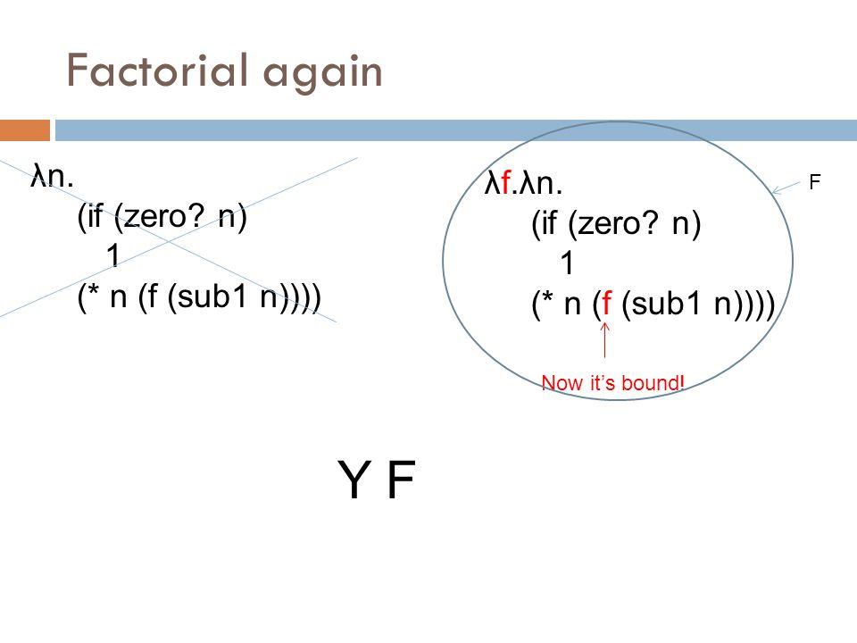 Factorial again λn. (if (zero. n) 1 (* n (f (sub1 n)))) λf.λn.