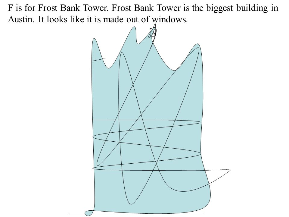 F is for Frost Bank Tower. Frost Bank Tower is the biggest building in Austin.