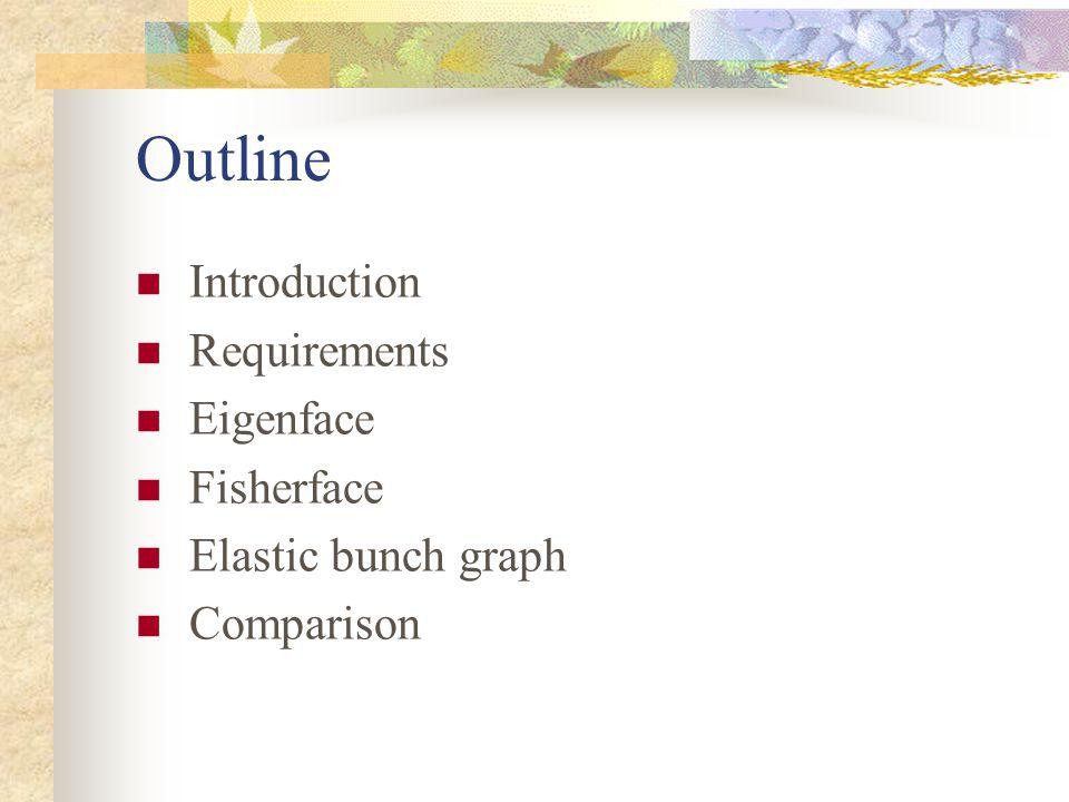 Outline Introduction Requirements Eigenface Fisherface Elastic bunch graph Comparison