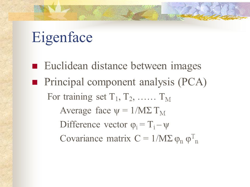 Eigenface Euclidean distance between images Principal component analysis (PCA) For training set T 1, T 2, …… T M Average face ψ = 1/MΣ T M Difference