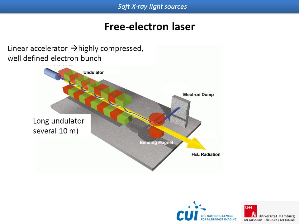 Soft X-ray light sources Free-electron laser Linear accelerator  highly compressed, well defined electron bunch Long undulator several 10 m)