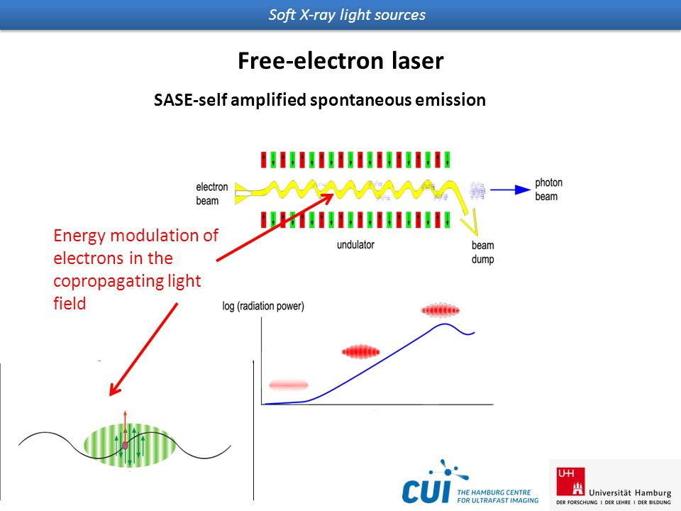 Soft X-ray light sources Free-electron laser SASE-self amplified spontaneous emission Energy modulation of electrons in the copropagating light field