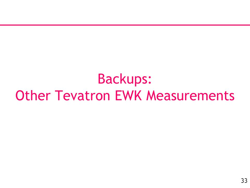 33 Backups: Other Tevatron EWK Measurements