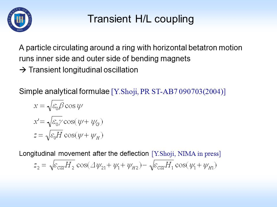 Transient H/L coupling A particle circulating around a ring with horizontal betatron motion runs inner side and outer side of bending magnets  Transient longitudinal oscillation Simple analytical formulae [Y.Shoji, PR ST-AB7 090703(2004)] Longitudinal movement after the deflection [Y.Shoji, NIMA in press]