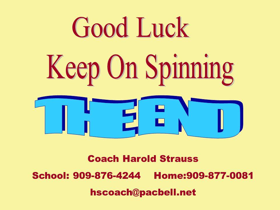 Coach Harold Strauss School: 909-876-4244 Home:909-877-0081 hscoach@pacbell.net