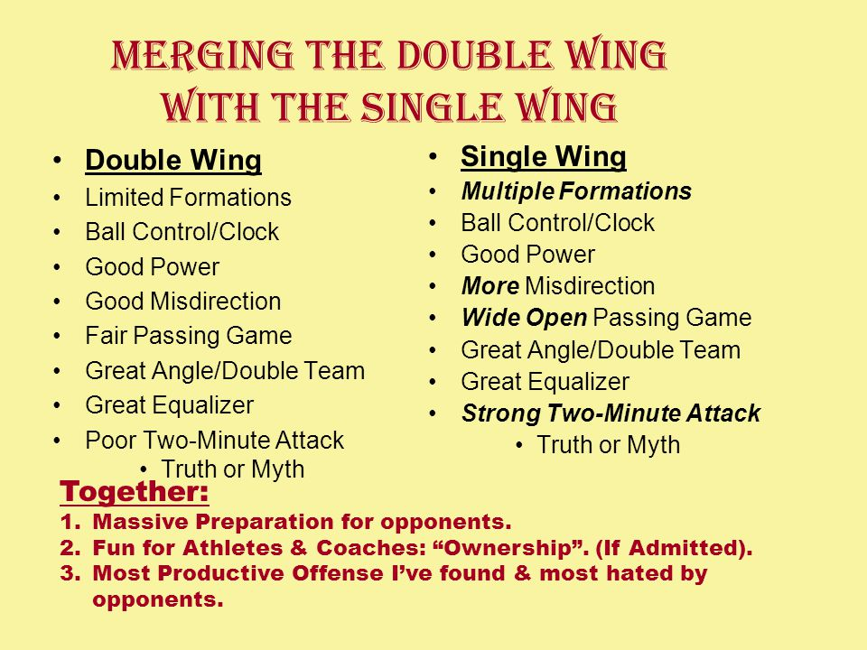 Merging the Double Wing With The Single Wing Double Wing Limited Formations Ball Control/Clock Good Power Good Misdirection Fair Passing Game Great Angle/Double Team Great Equalizer Poor Two-Minute Attack Truth or Myth Single Wing Multiple Formations Ball Control/Clock Good Power More Misdirection Wide Open Passing Game Great Angle/Double Team Great Equalizer Strong Two-Minute Attack Truth or Myth Together: 1.Massive Preparation for opponents.