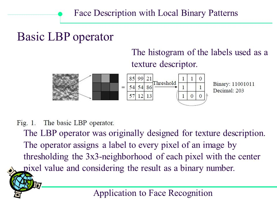 Application to Face Recognition Face Description with Local Binary Patterns Basic LBP operator The LBP operator was originally designed for texture de