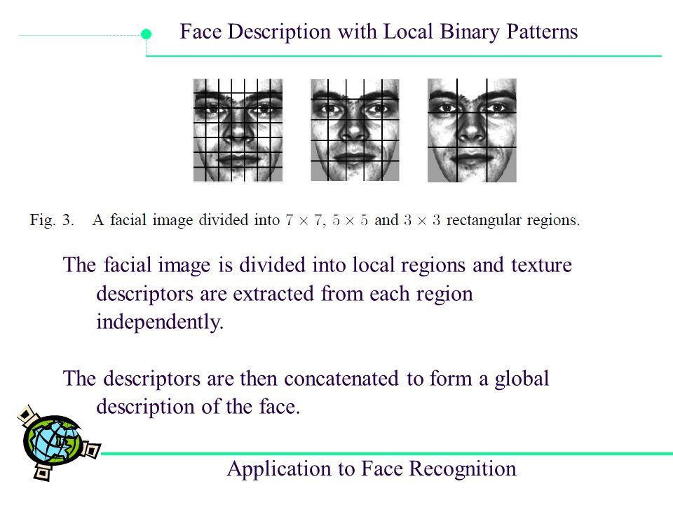 Application to Face Recognition Face Description with Local Binary Patterns The facial image is divided into local regions and texture descriptors are