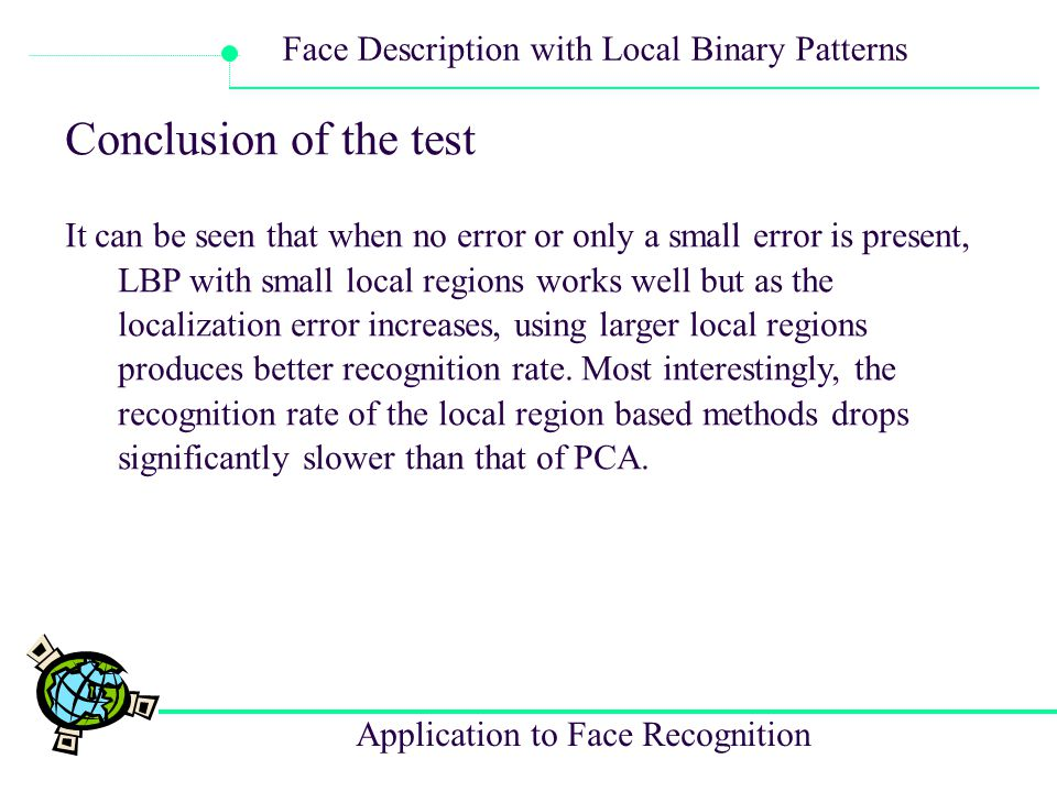 Application to Face Recognition Face Description with Local Binary Patterns Conclusion of the test It can be seen that when no error or only a small e