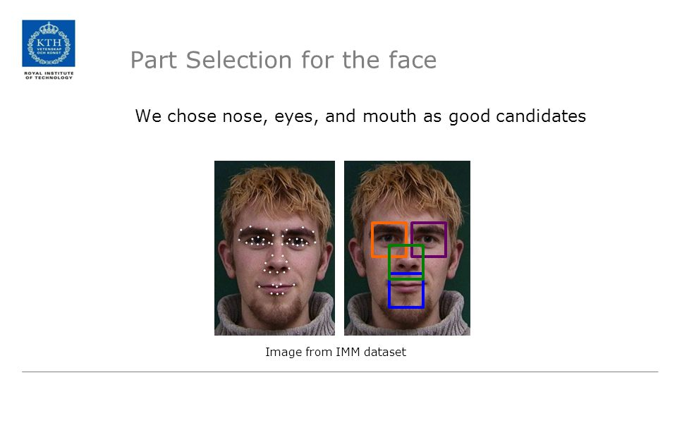 Part Selection for the face We chose nose, eyes, and mouth as good candidates Image from IMM dataset