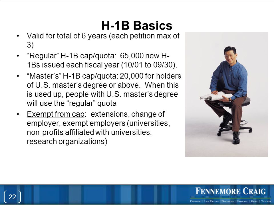 Valid for total of 6 years (each petition max of 3) Regular H-1B cap/quota: 65,000 new H- 1Bs issued each fiscal year (10/01 to 09/30).