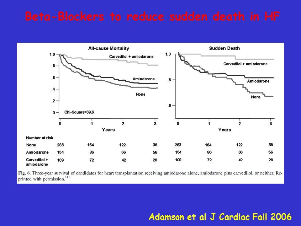 Beta-Blockers to reduce sudden death in HF Adamson et al J Cardiac Fail 2006