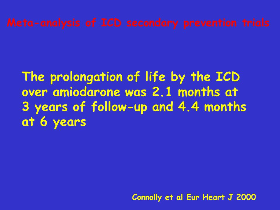 Meta-analysis of ICD secondary prevention trials Connolly et al Eur Heart J 2000 The prolongation of life by the ICD over amiodarone was 2.1 months at 3 years of follow-up and 4.4 months at 6 years