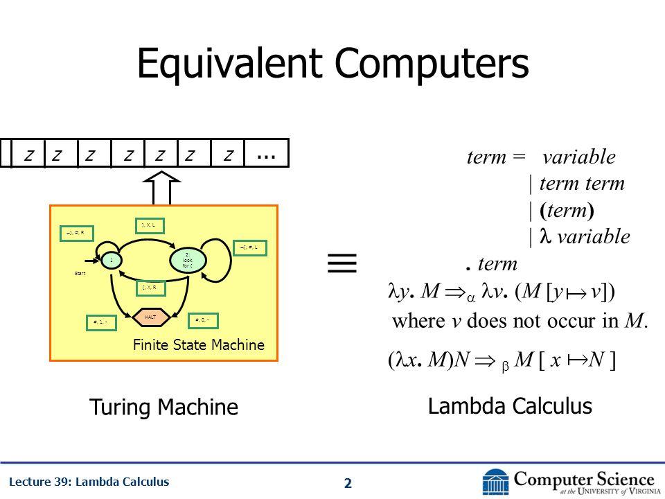2 Lecture 39: Lambda Calculus Equivalent Computers zzzzzzz 1 Start HALT ), X, L 2: look for ( #, 1, -  ), #, R  (, #, L (, X, R #, 0, - Finite State Machine...