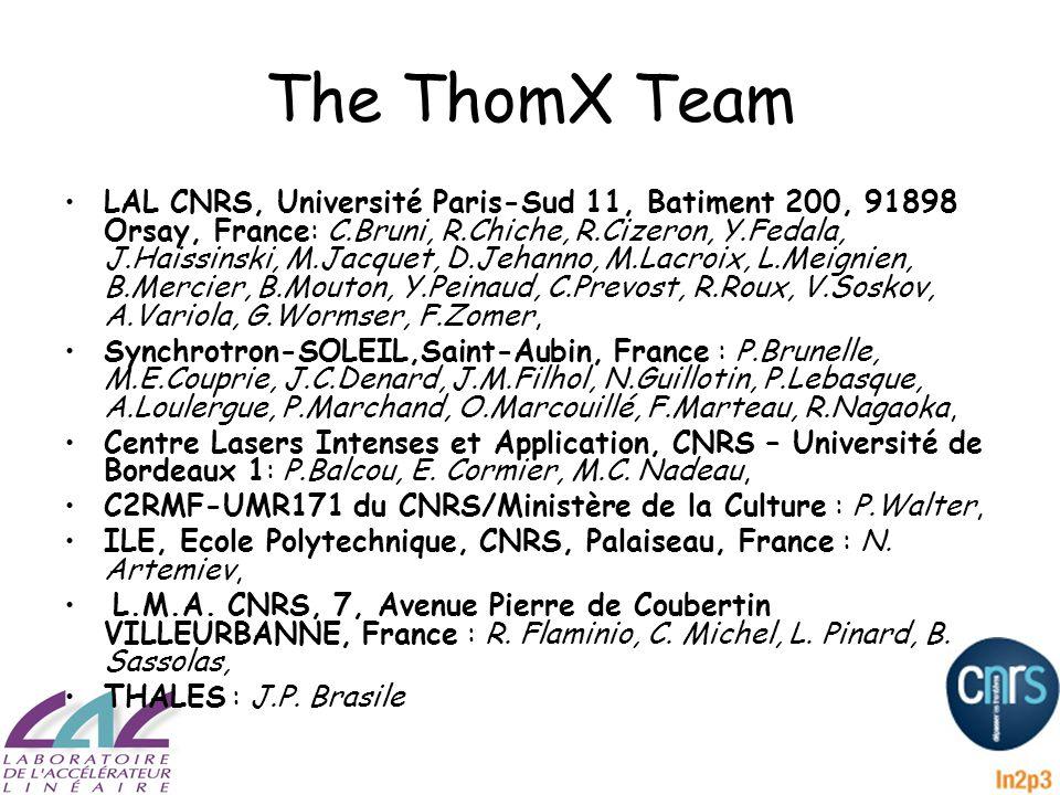 The ThomX Team LAL CNRS, Université Paris-Sud 11, Batiment 200, 91898 Orsay, France: C.Bruni, R.Chiche, R.Cizeron, Y.Fedala, J.Haissinski, M.Jacquet, D.Jehanno, M.Lacroix, L.Meignien, B.Mercier, B.Mouton, Y.Peinaud, C.Prevost, R.Roux, V.Soskov, A.Variola, G.Wormser, F.Zomer, Synchrotron-SOLEIL,Saint-Aubin, France : P.Brunelle, M.E.Couprie, J.C.Denard, J.M.Filhol, N.Guillotin, P.Lebasque, A.Loulergue, P.Marchand, O.Marcouillé, F.Marteau, R.Nagaoka, Centre Lasers Intenses et Application, CNRS – Université de Bordeaux 1: P.Balcou, E.