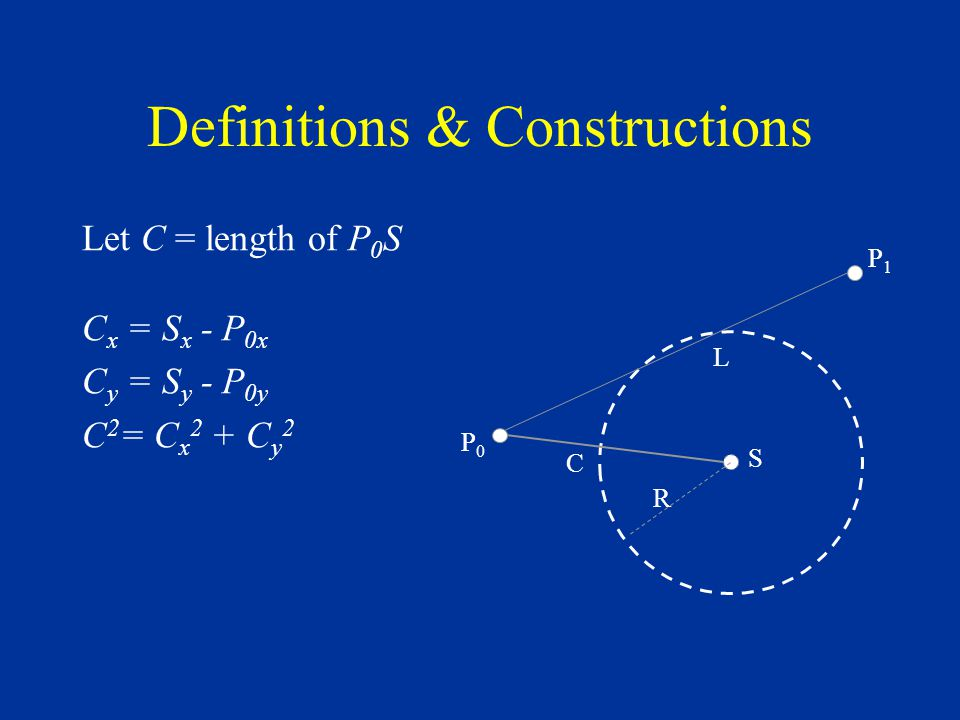 Definitions & Constructions Let C = length of P 0 S C x = S x - P 0x C y = S y - P 0y C 2 = C x 2 + C y 2 S R C L P0P0 P1P1