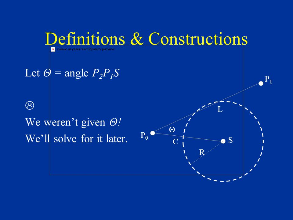 Definitions & Constructions Let Θ = angle P 2 P 1 S  We weren't given Θ.