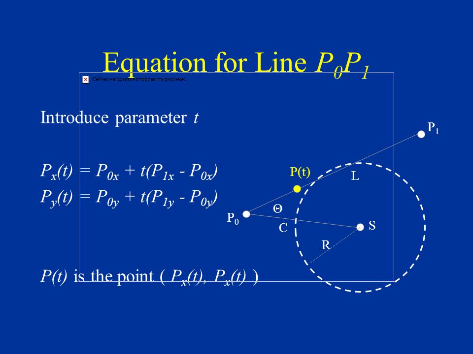 Equation for Line P 0 P 1 Introduce parameter t P x (t) = P 0x + t(P 1x - P 0x ) P y (t) = P 0y + t(P 1y - P 0y ) P(t) is the point ( P x (t), P x (t) ) S P1P1 C L Θ R P0P0 P(t)