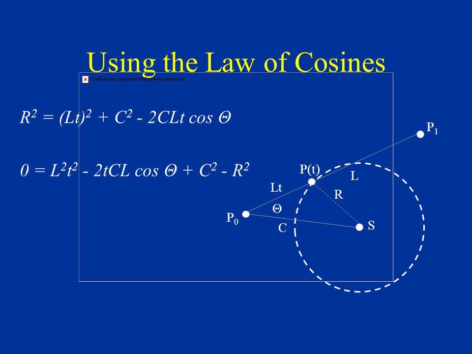 Using the Law of Cosines R 2 = (Lt) 2 + C 2 - 2CLt cos Θ 0 = L 2 t 2 - 2tCL cos Θ + C 2 - R 2 S R P1P1 C P(t) L Θ Lt P0P0