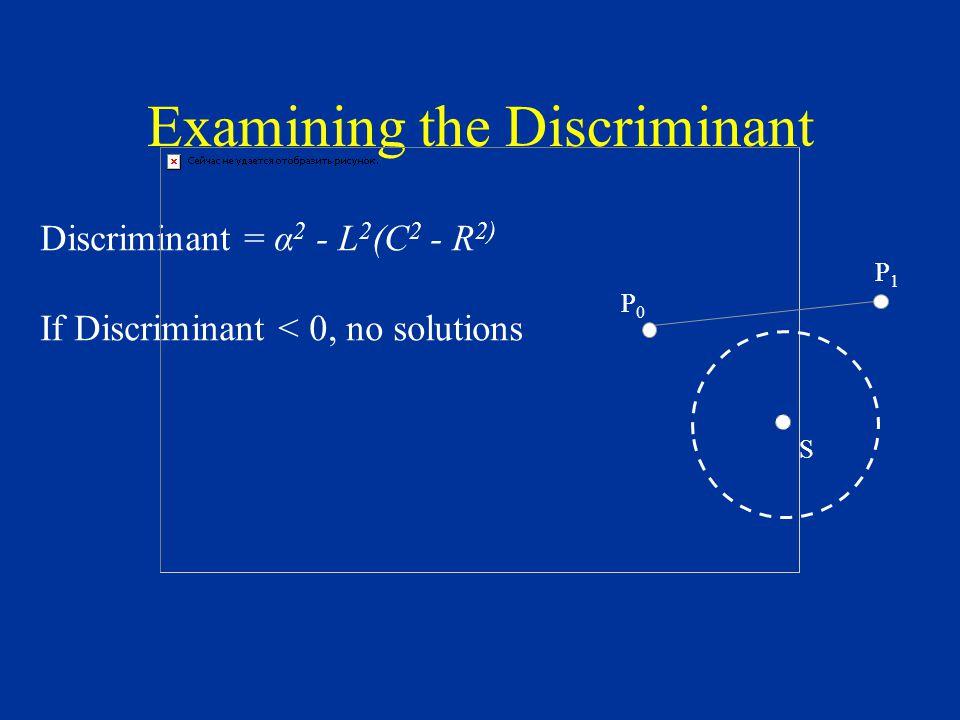 Examining the Discriminant Discriminant = α 2 - L 2 (C 2 - R 2) If Discriminant < 0, no solutions S P0P0 P1P1