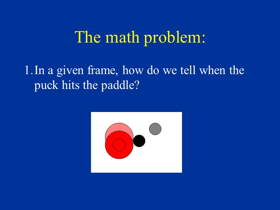 The math problem: 1.In a given frame, how do we tell when the puck hits the paddle