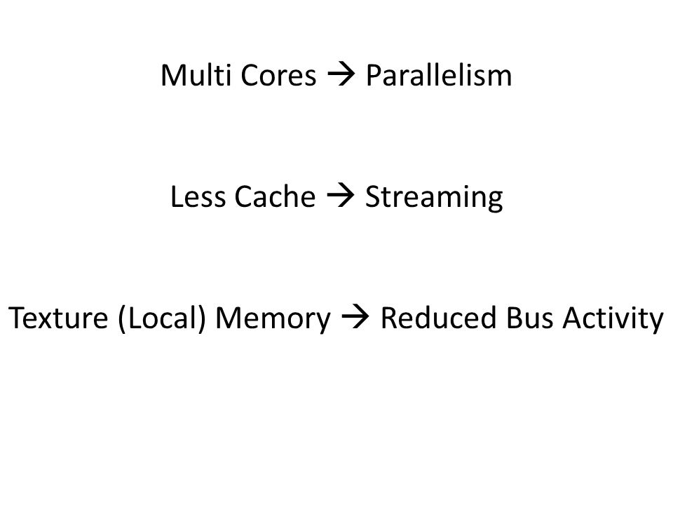 Multi Cores  Parallelism Less Cache  Streaming Texture (Local) Memory  Reduced Bus Activity