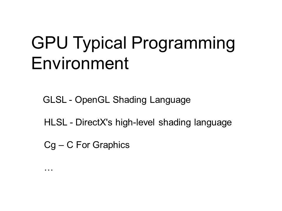 GPU Typical Programming Environment GLSL - OpenGL Shading Language HLSL - DirectX s high-level shading language Cg – C For Graphics …