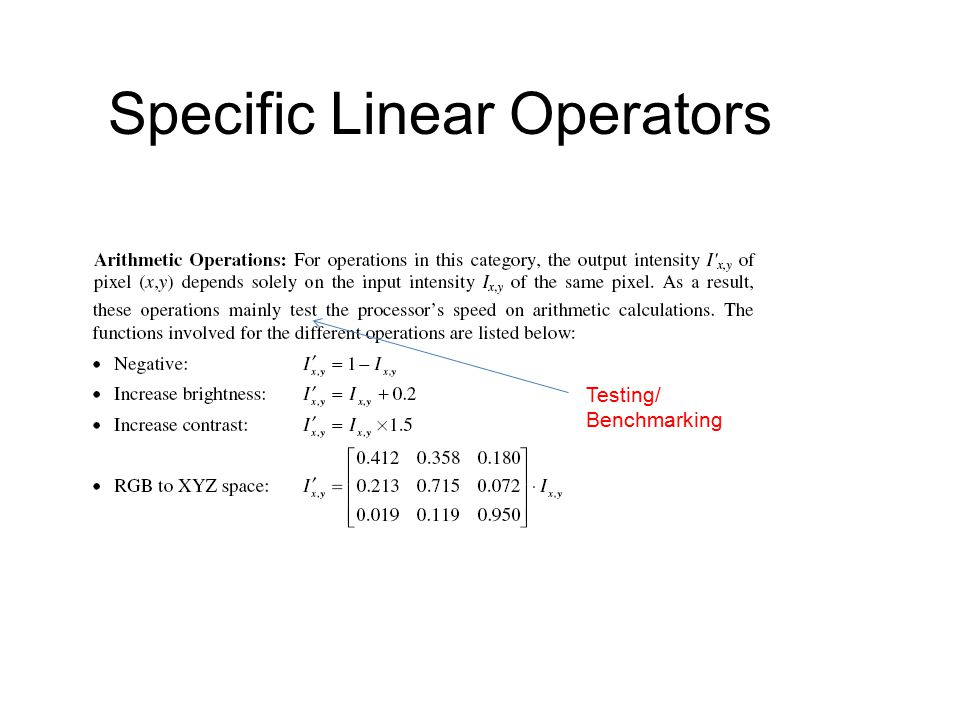 Specific Linear Operators Testing/ Benchmarking