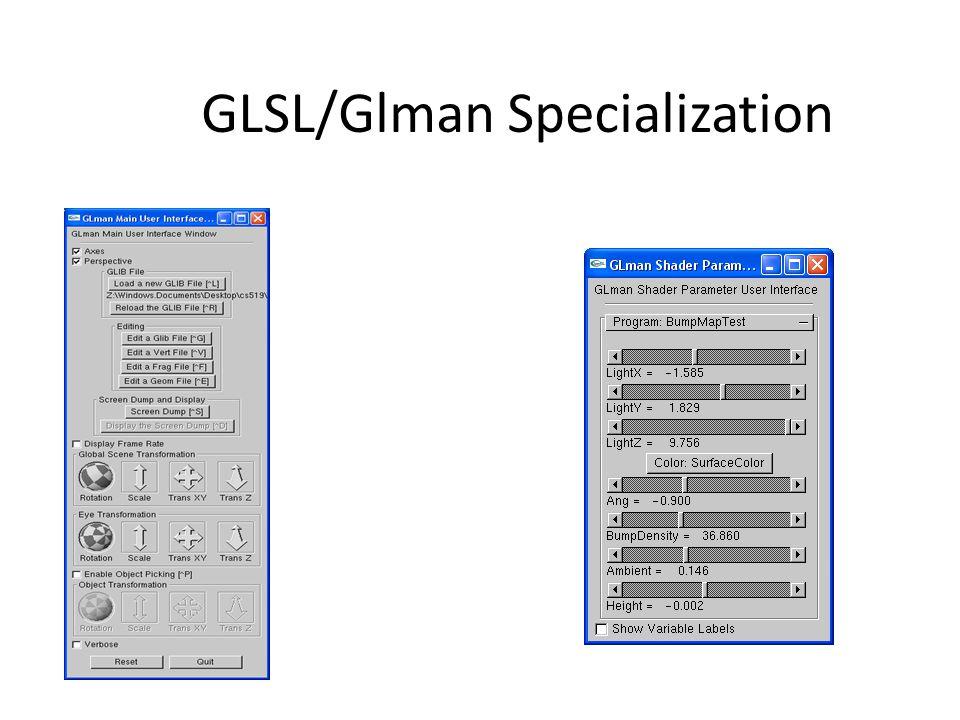 GLSL/Glman Specialization
