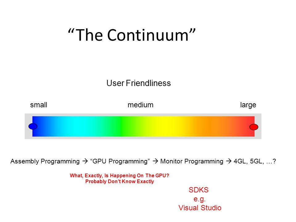 The Continuum Assembly Programming  GPU Programming  Monitor Programming  4GL, 5GL, ….