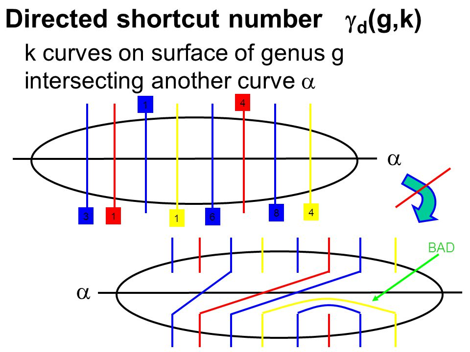 Directed shortcut number  d (g,k) k curves on surface of genus g intersecting another curve    1 4 1 4 1 3 8 6 BAD
