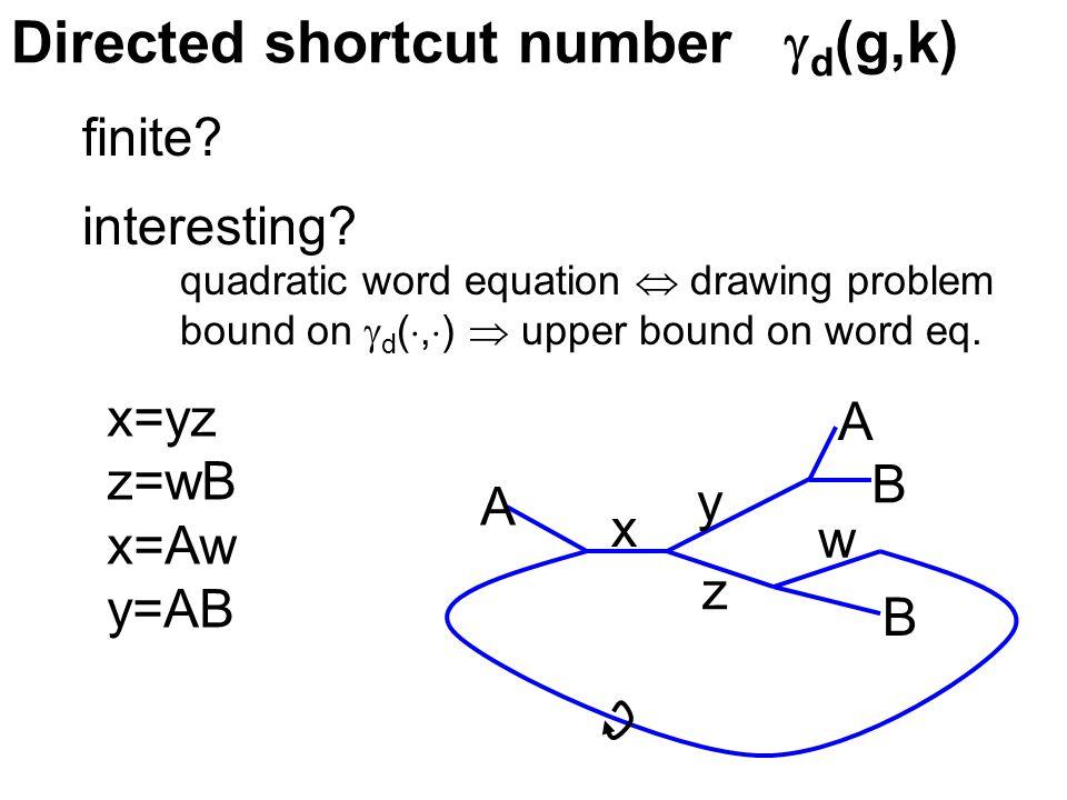 Directed shortcut number  d (g,k) finite.