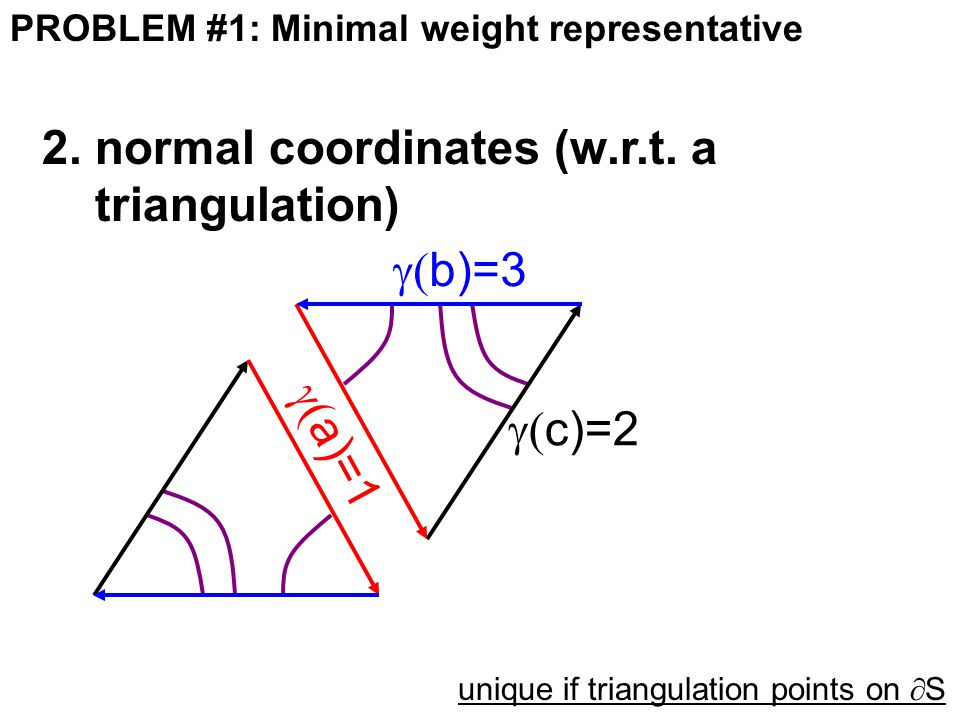 PROBLEM #1: Minimal weight representative 2.normal coordinates (w.r.t.