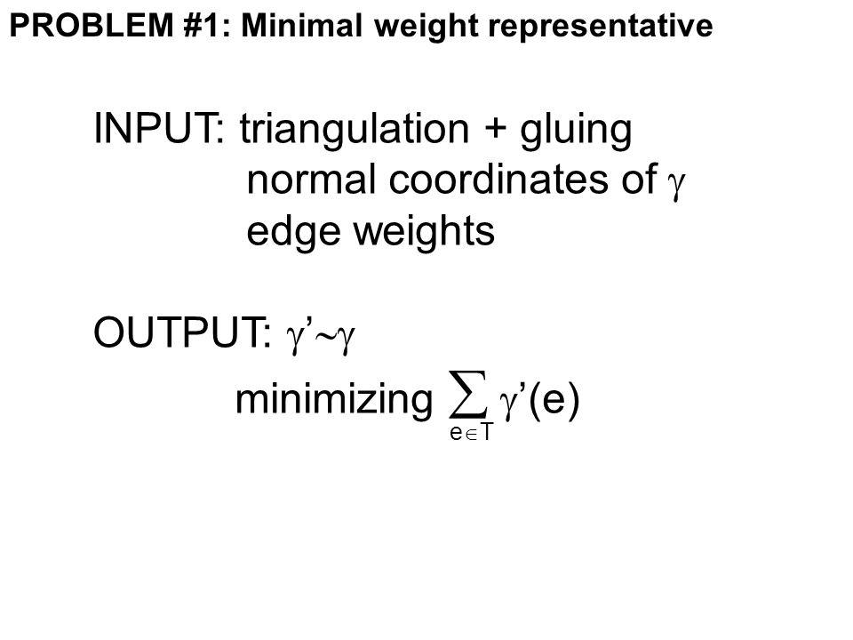 PROBLEM #1: Minimal weight representative INPUT: triangulation + gluing normal coordinates of  edge weights OUTPUT:  '  minimizing   '(e) eTeT