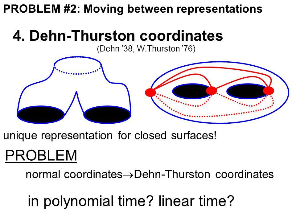 PROBLEM #2: Moving between representations 4. Dehn-Thurston coordinates (Dehn '38, W.Thurston '76) unique representation for closed surfaces! PROBLEM