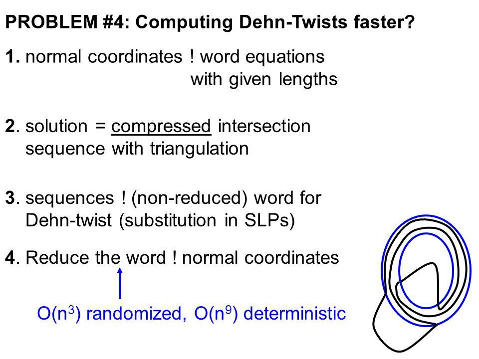 PROBLEM #4: Computing Dehn-Twists faster. 1. normal coordinates .