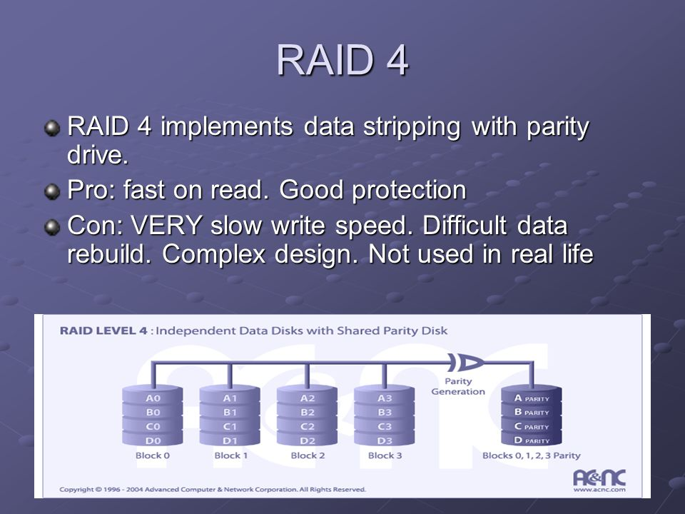 RAID 5 RAID 5 implements data stripping with distributed parity Pro: Fastest read speed, decent write speed.