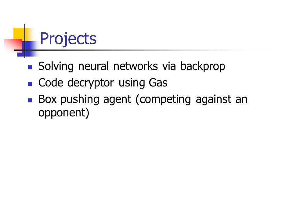 Projects Solving neural networks via backprop Code decryptor using Gas Box pushing agent (competing against an opponent)
