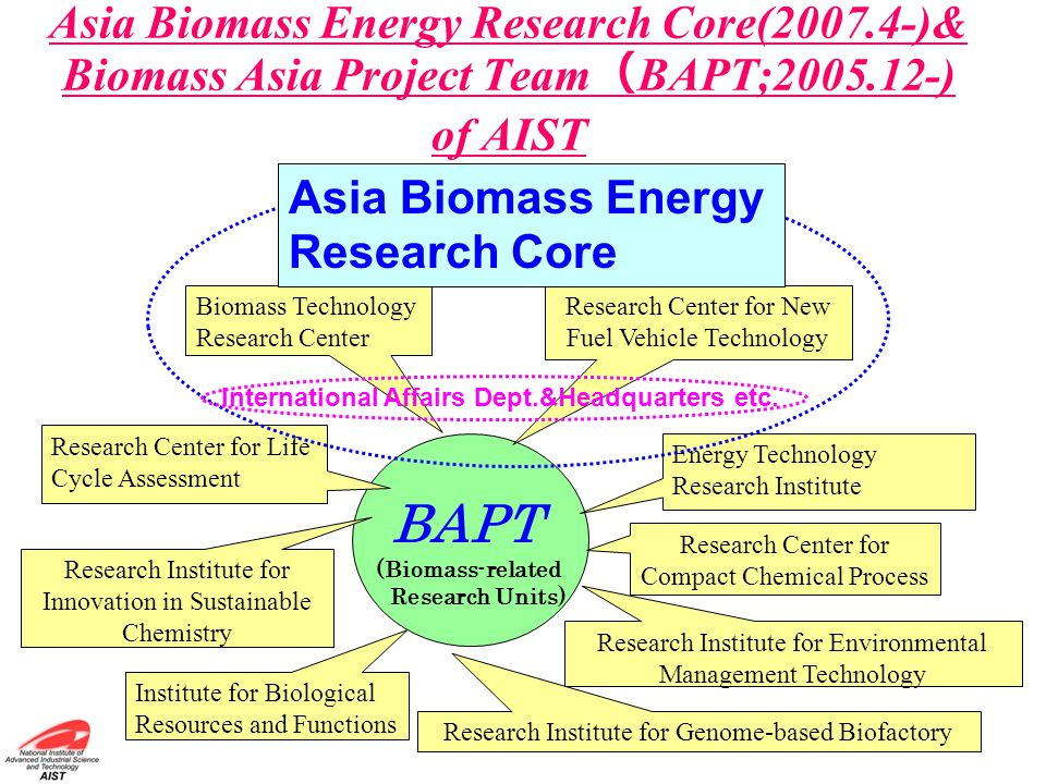 Asia Biomass Energy Research Core(2007.4-)& Biomass Asia Project Team ( BAPT;2005.12-) of AIST BAPT (Biomass-related Research Units) Research Institut