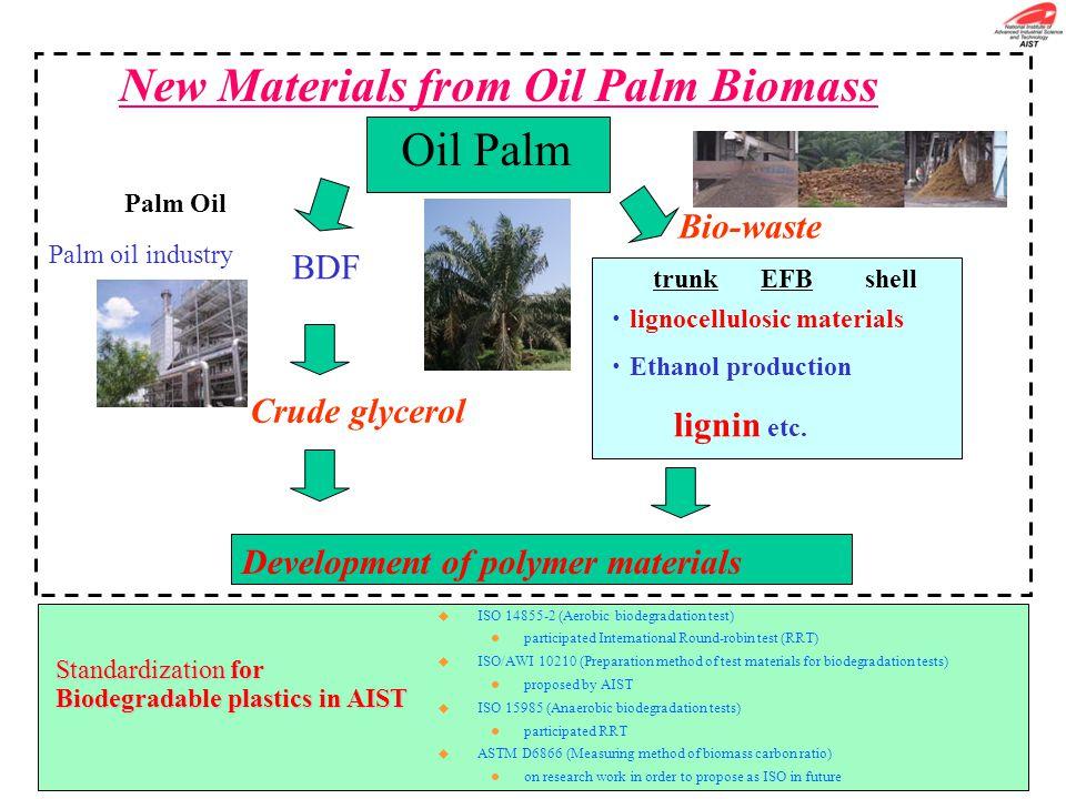 Oil Palm Palm Oil trunk EFB shell Palm oil industry Crude glycerol ・ lignocellulosic materials ・ Ethanol production lignin etc. Bio-waste BDF New Mate