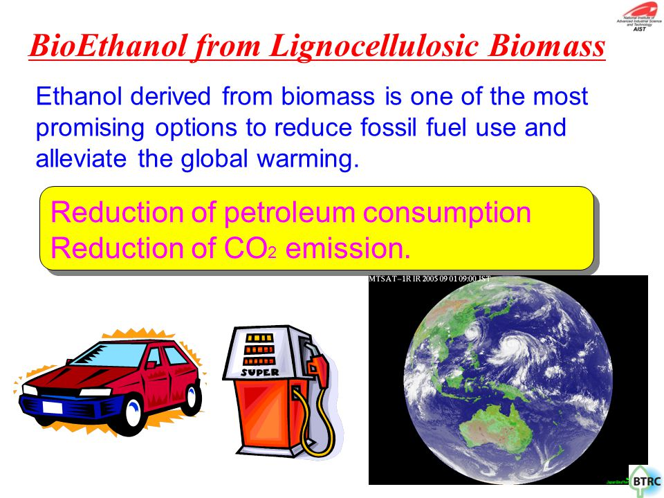 Reduction of petroleum consumption Reduction of CO 2 emission. Ethanol derived from biomass is one of the most promising options to reduce fossil fuel