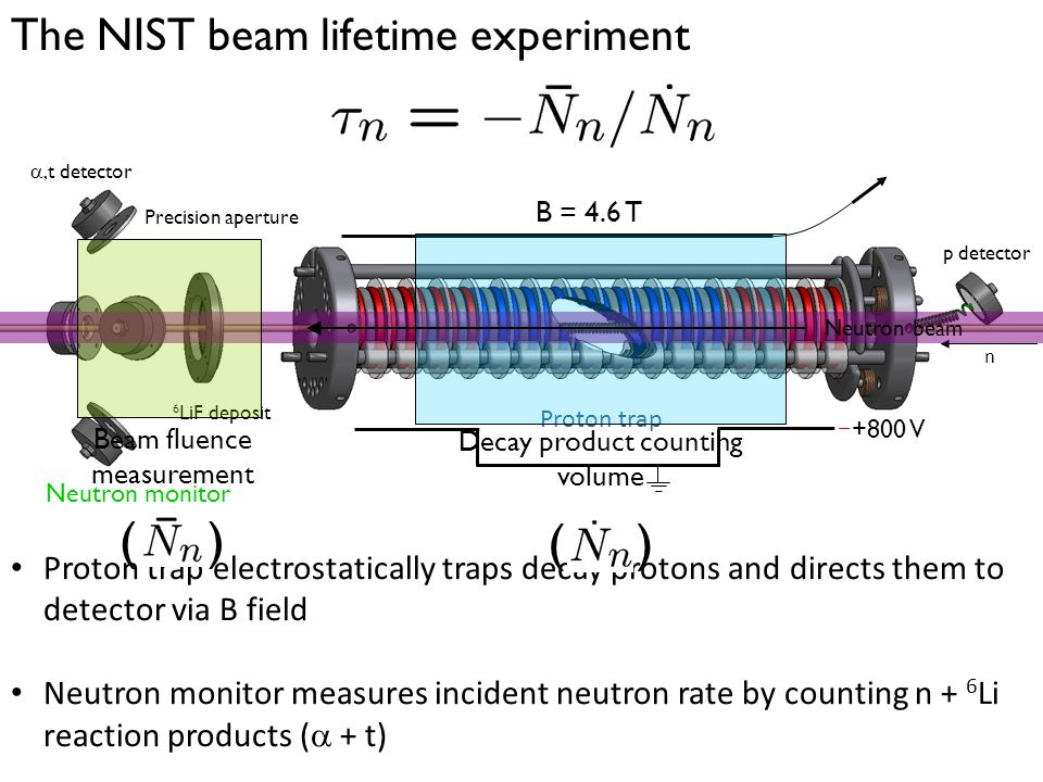 The NIST beam lifetime experiment Proton trap electrostatically traps decay protons and directs them to detector via B field Neutron monitor measures incident neutron rate by counting n + 6 Li reaction products (  + t) Proton trap Neutron monitor 6 LiF deposit ,t detector Precision aperture n p detector B = 4.6 T +800 V Decay product counting volume ( ) Neutron beam Beam fluence measurement ( )