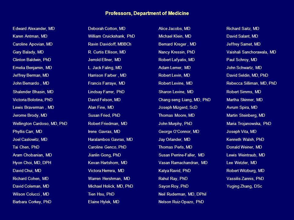 Professors, Department of Medicine Edward Alexander, MDDeborah Cotton, MDAlice Jacobs, MDRichard Saitz, MD Karen Antman, MDWilliam Cruickshank, PhDMichael Klein, MDDavid Salant, MD Caroline Apovian, MDRavin Davidoff, MBBChBernard Kreger, MDJeffrey Samet, MD Gary Balady, MDR.