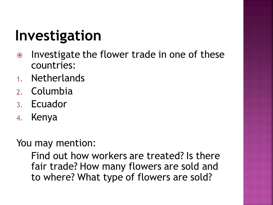  Investigate the flower trade in one of these countries: 1.