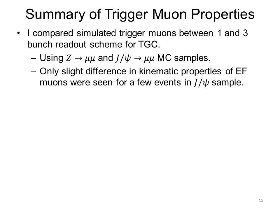 Summary of Trigger Muon Properties 15