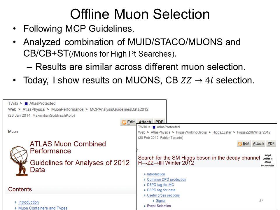 Offline Muon Selection 37
