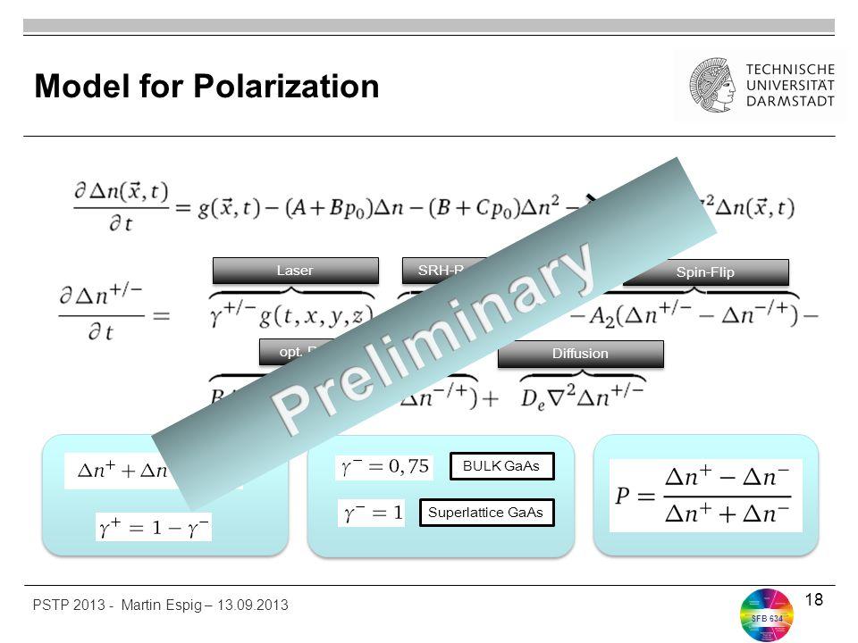 SFB 634 Model for Polarization 18 BULK GaAs Superlattice GaAs SRH-Recombination Spin-Flip opt. Recombination Diffusion Laser PSTP 2013 - Martin Espig