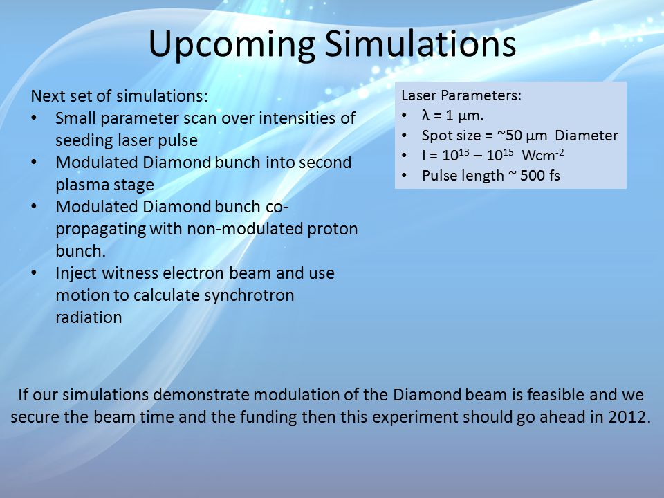 Upcoming Simulations Next set of simulations: Small parameter scan over intensities of seeding laser pulse Modulated Diamond bunch into second plasma stage Modulated Diamond bunch co- propagating with non-modulated proton bunch.