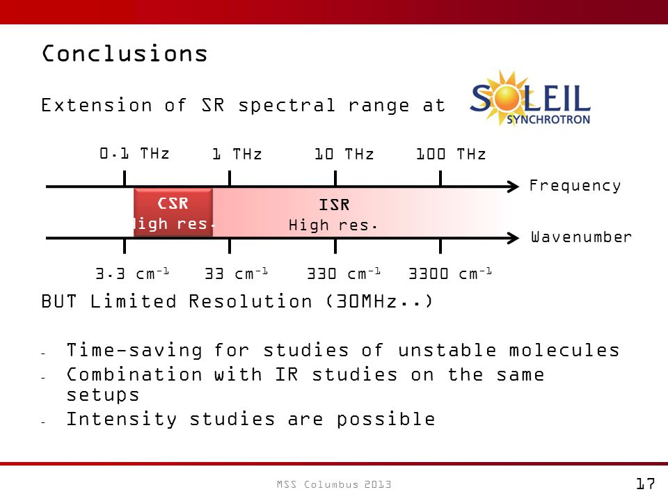 Conclusions Extension of SR spectral range at SOLEIL BUT Limited Resolution (30MHz..) - Time-saving for studies of unstable molecules - Combination with IR studies on the same setups - Intensity studies are possible Frequency 0.1 THz 1 THz10 THz100 THz ISR High res.