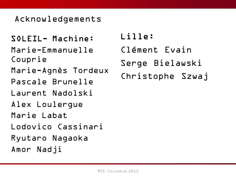 Acknowledgements Lille: Clément Evain Serge Bielawski Christophe Szwaj SOLEIL- Machine: Marie-Emmanuelle Couprie Marie-Agnès Tordeux Pascale Brunelle